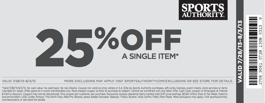 photo relating to Printable Coupon Sports Authority known as 25% off Sports activities Authority Printable Coupon codes Printable