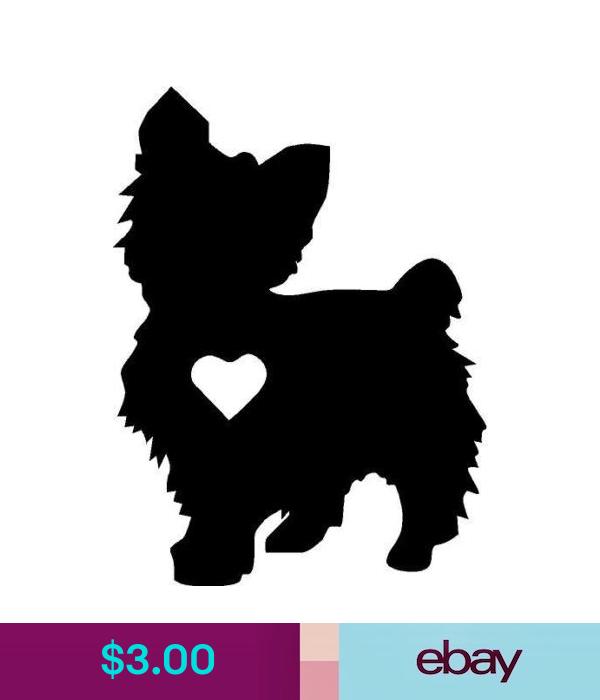 Yorkie silhouette vinyl decal//sticker cute animal Dog Family Pet little heart