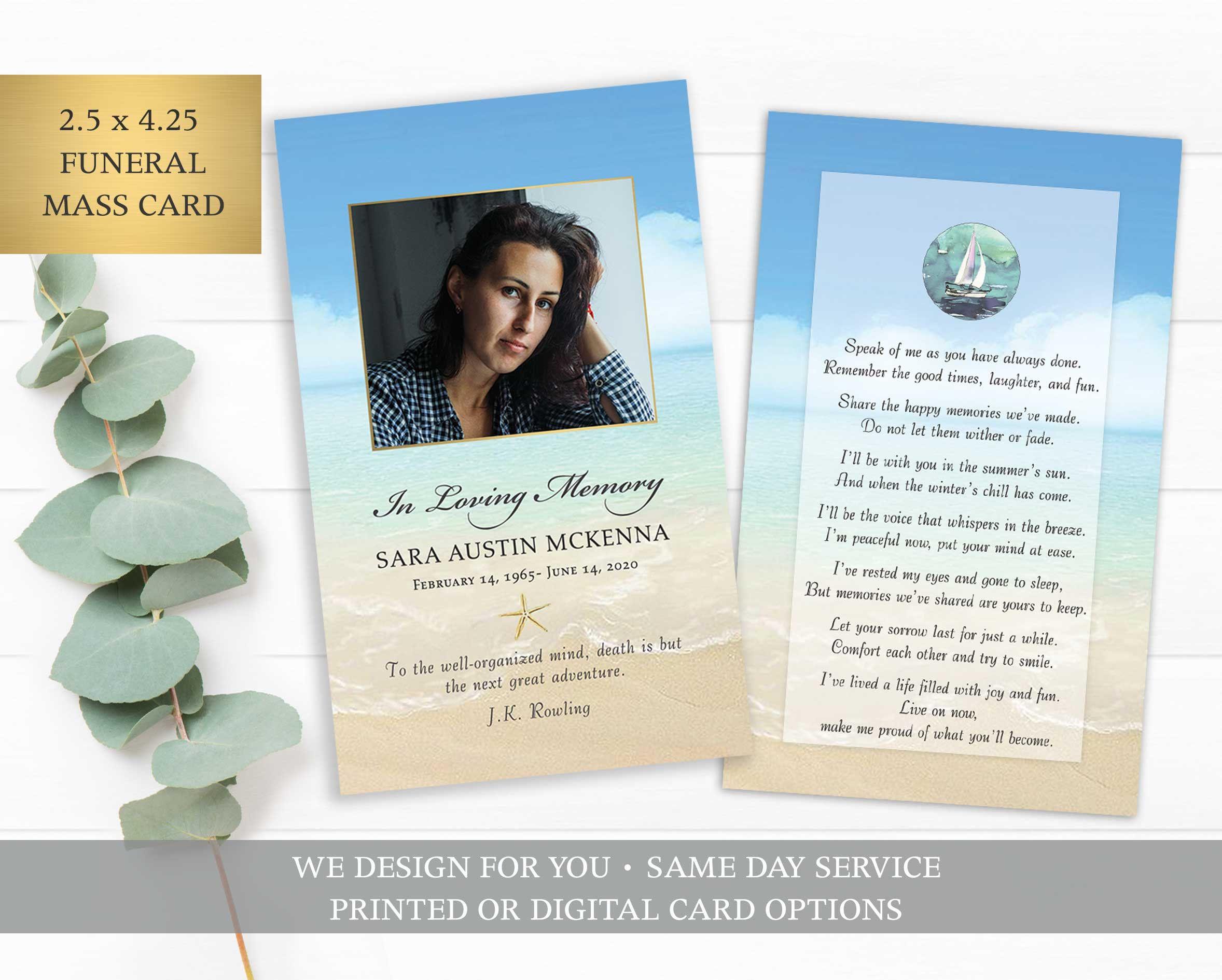 Funeral Prayer Card Template Printable Memorial Prayer Card Etsy In 2021 Funeral Prayers Prayer Cards Printable Prayer Cards