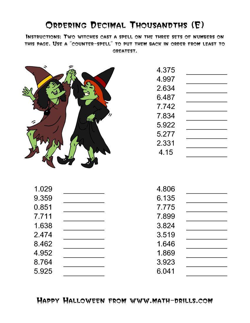 Witches Ordering Decimal Thousandths E Halloween Math Worksheets Halloween Math Holiday Math [ 1100 x 850 Pixel ]