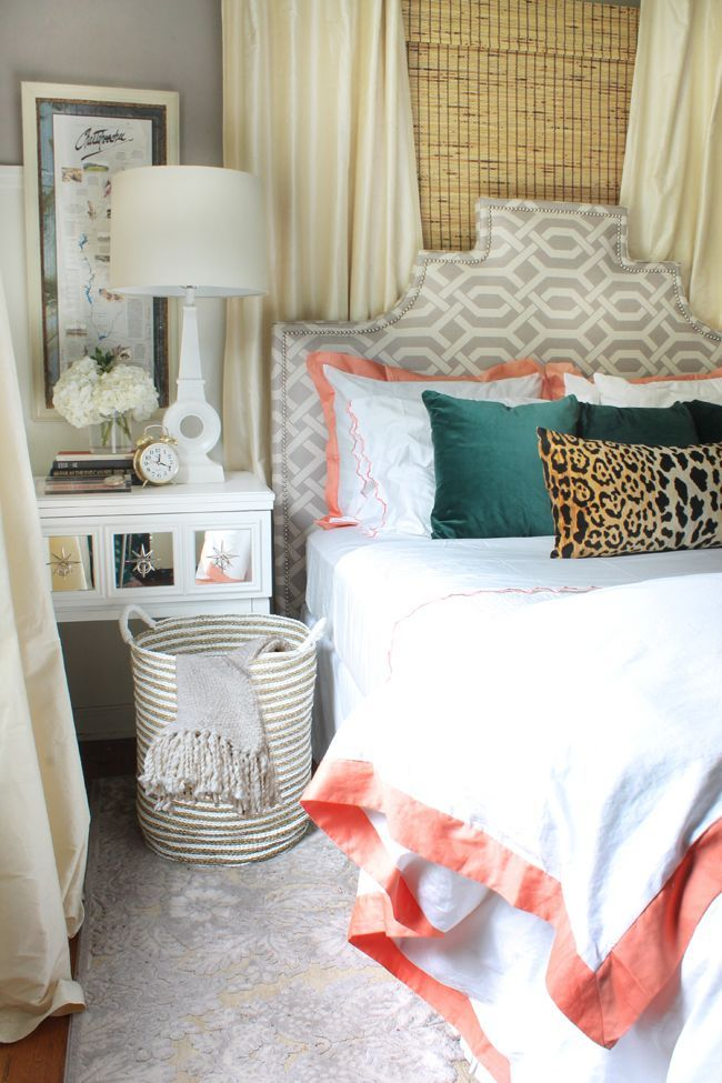 Comfortable, chic bedroom. Palette of tan, gray, teal, coral ...