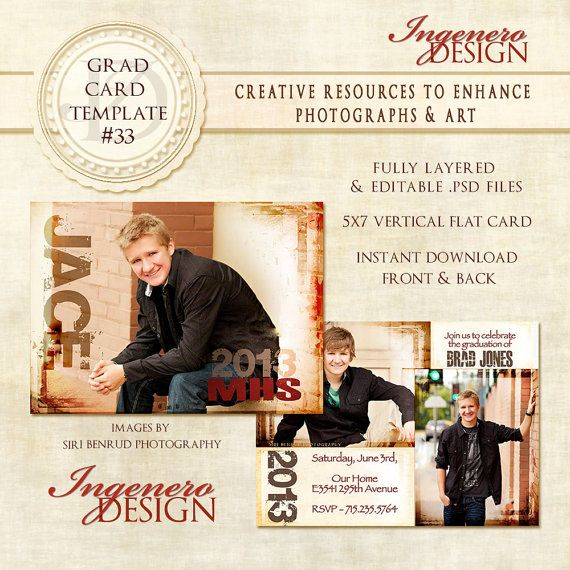 Senior Boy Invitation Photoshop Template - Graduation Card 33 ID 033 ...