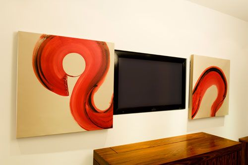 Fernseher Verstecken sliding picture to hide tv tv integration den fernseher