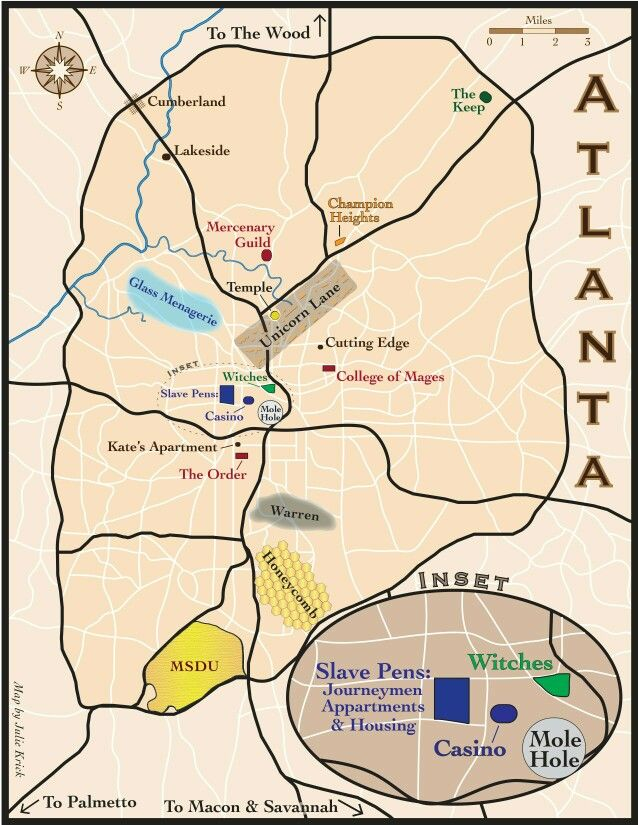map of Atlanta from the Kate Daniels series by Ilona Andrews
