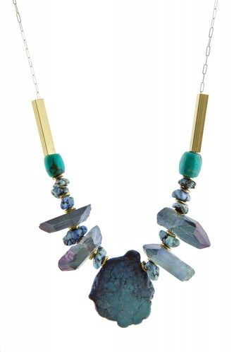 Asteroid Necklace - A bold statement necklace. A sterling silver chain and lobster claw clasp with turquoise, howlite and quartz stones and brass accents.   By Ali's Collection Measures 20.5 inches from end to end. Made in Chicago, USA.  - $125