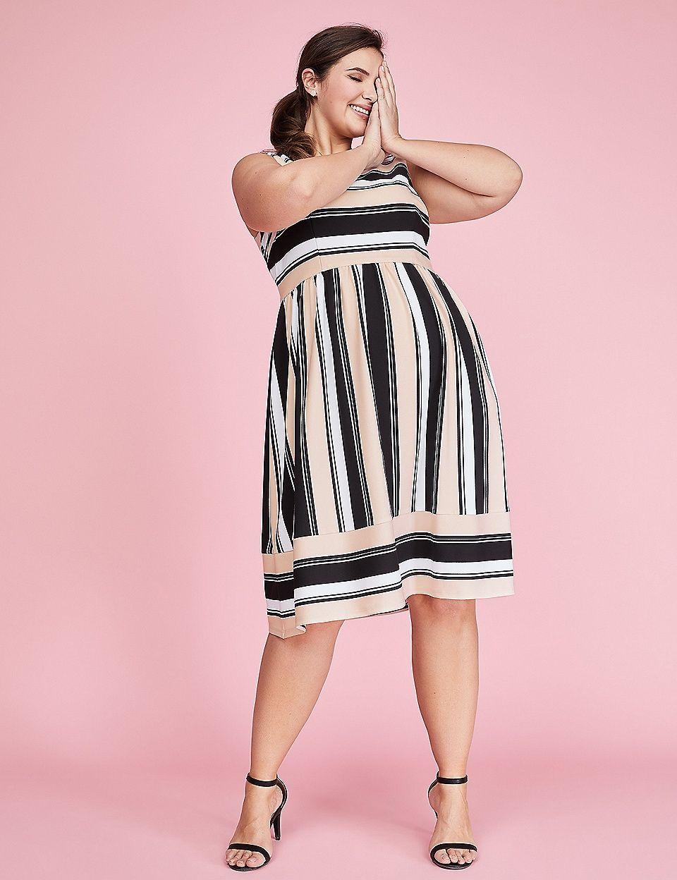 ec9499ecd592 Striped Scuba Fit & Flare Dress | Lane Bryant | Clothes and shoes ...