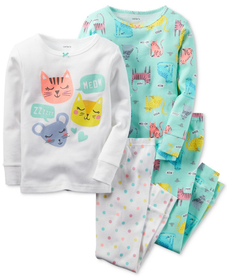 a9a5bcb59 Carter s Girls  or Little Girls  4-Pc. Sleepy Cats Pajama Set