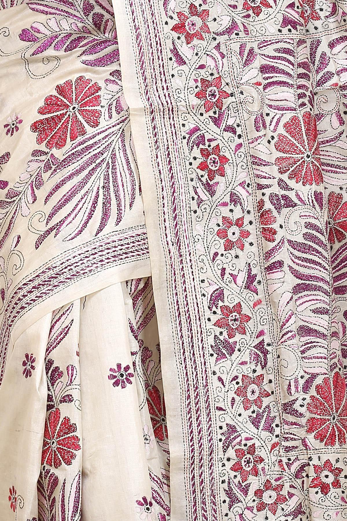Off White Red u Purple Kantha Tussar Silk Saree  kantha  Pinterest
