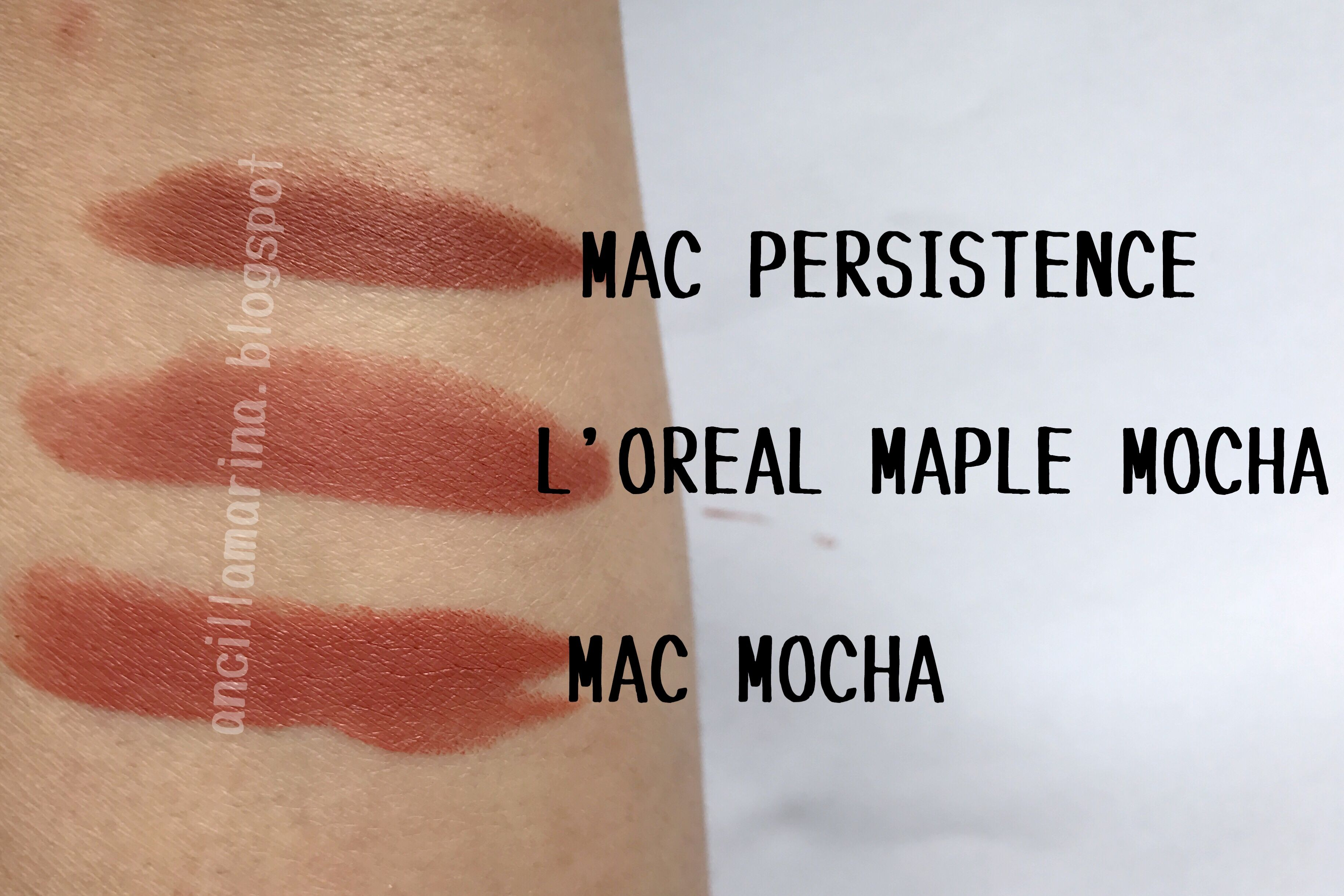Mac Persistence Vs Loreal Maple Mocha In Real Life Brunbrun Paris Ultra Rich Lipstick Gingersnap Is The Most Brown Than Others More Pink