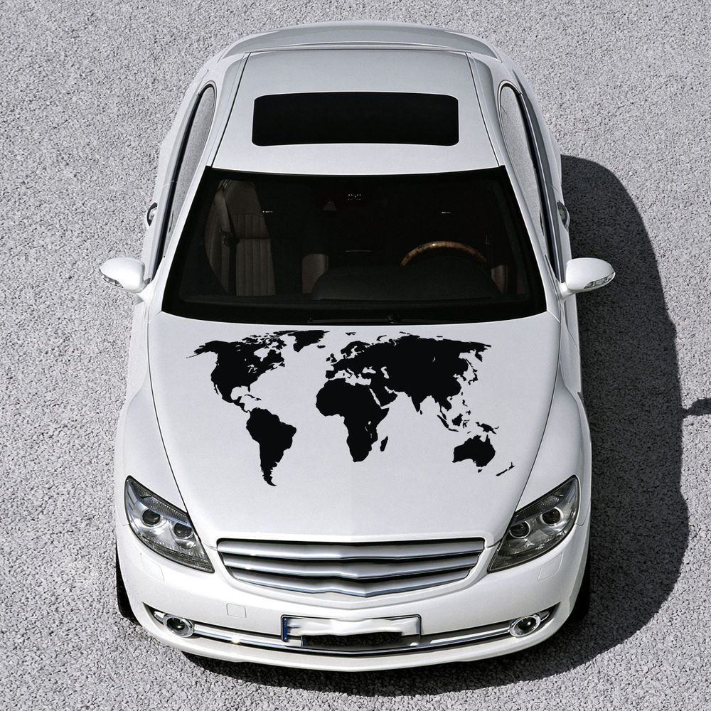 WORLD MAP EARTH HOOD CAR VINYL STICKER DECALS GRAPHIC MURALS CUTE - Best automobile graphics and patternsbest stickers on the car hood images on pinterest cars hoods