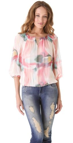 8059d9affac alice + olivia Puff Sleeve Print Blouse | Blouses | Blouse, Printed ...