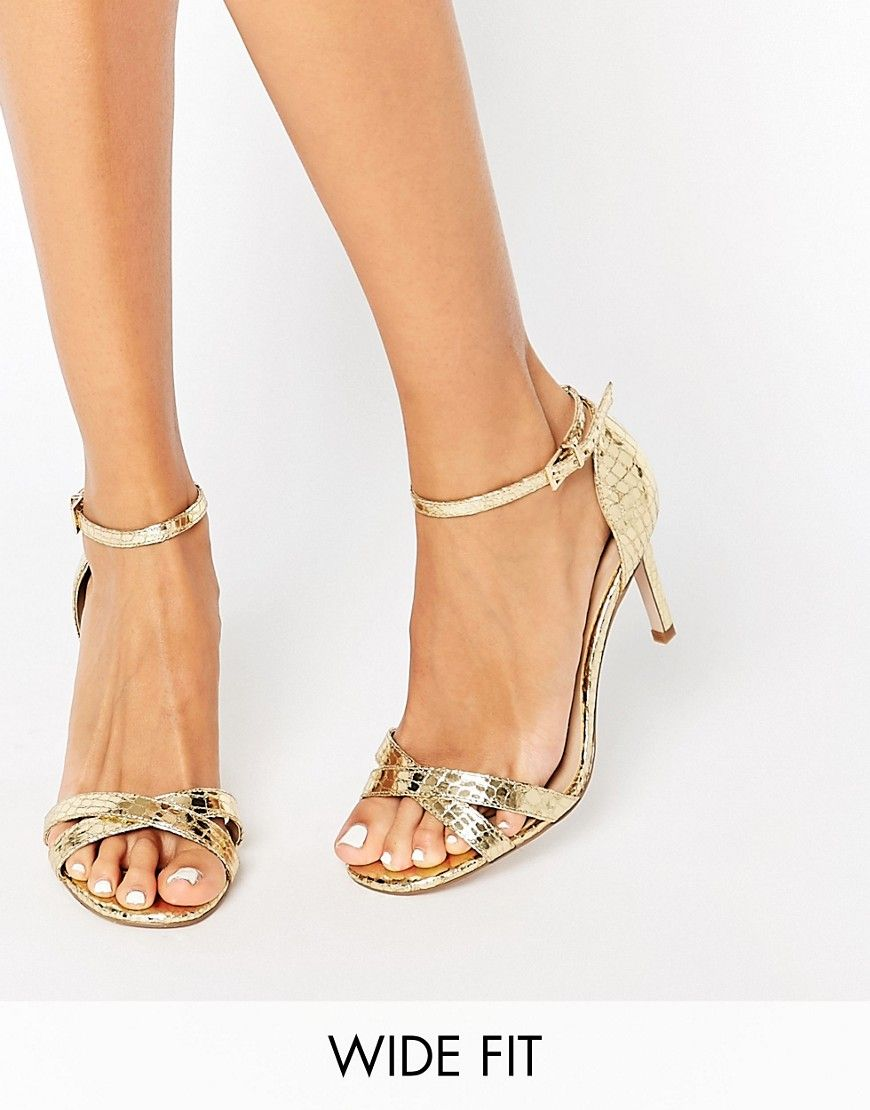 491347f8998 Image 1 of ASOS HIDE AND SEEK Wide Fit Heeled Sandals Gold Strappy Heels