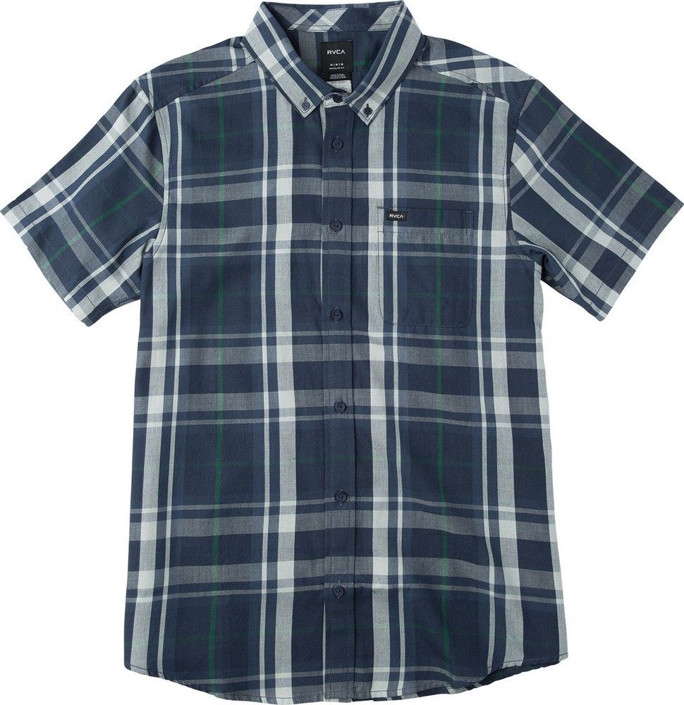 Flannel shirt and shorts men  RVCA Waas  Short Sleeve Plaid Shirt rvca cloth   Rvca Men