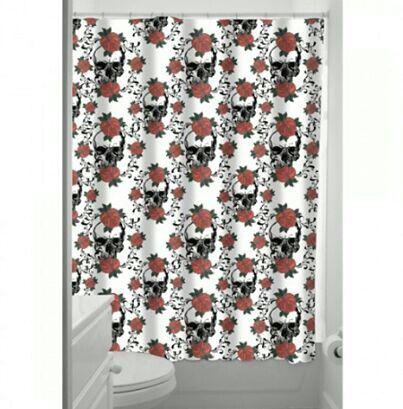 Rose Skull Shower Curtain. | Curtains, Skull shower ...