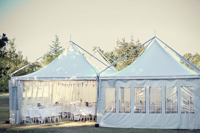 Receptions in tents with flags are lovely.