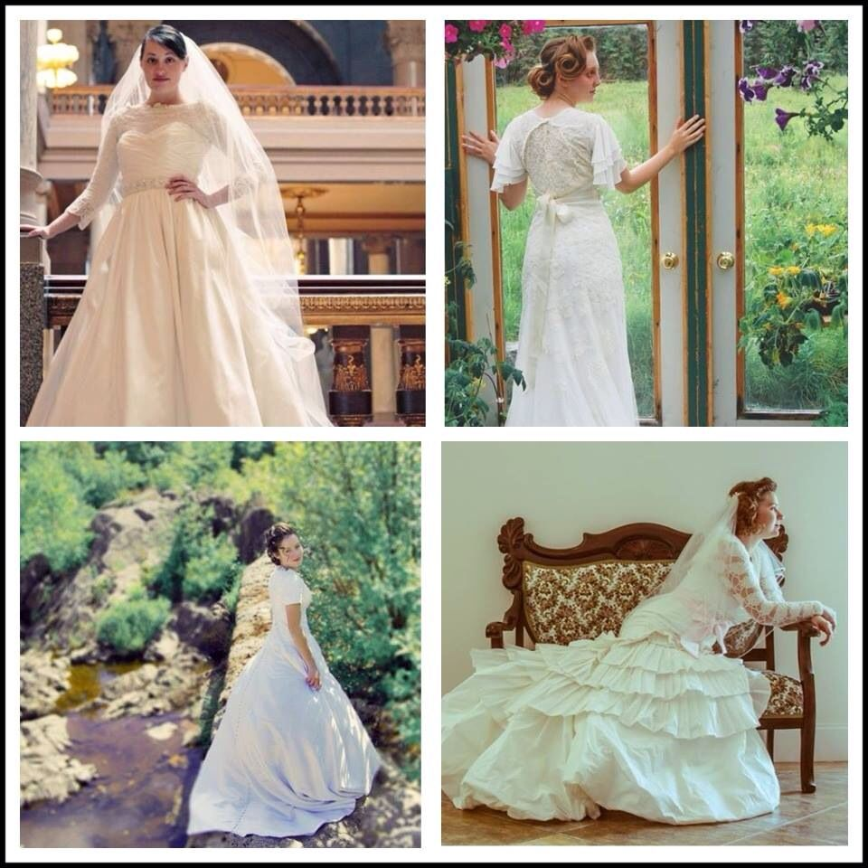 Four friends and four different modest wedding dresses ...