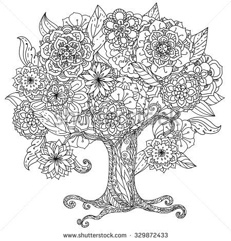 Circle shape orient floral black and white tree could be use for ...