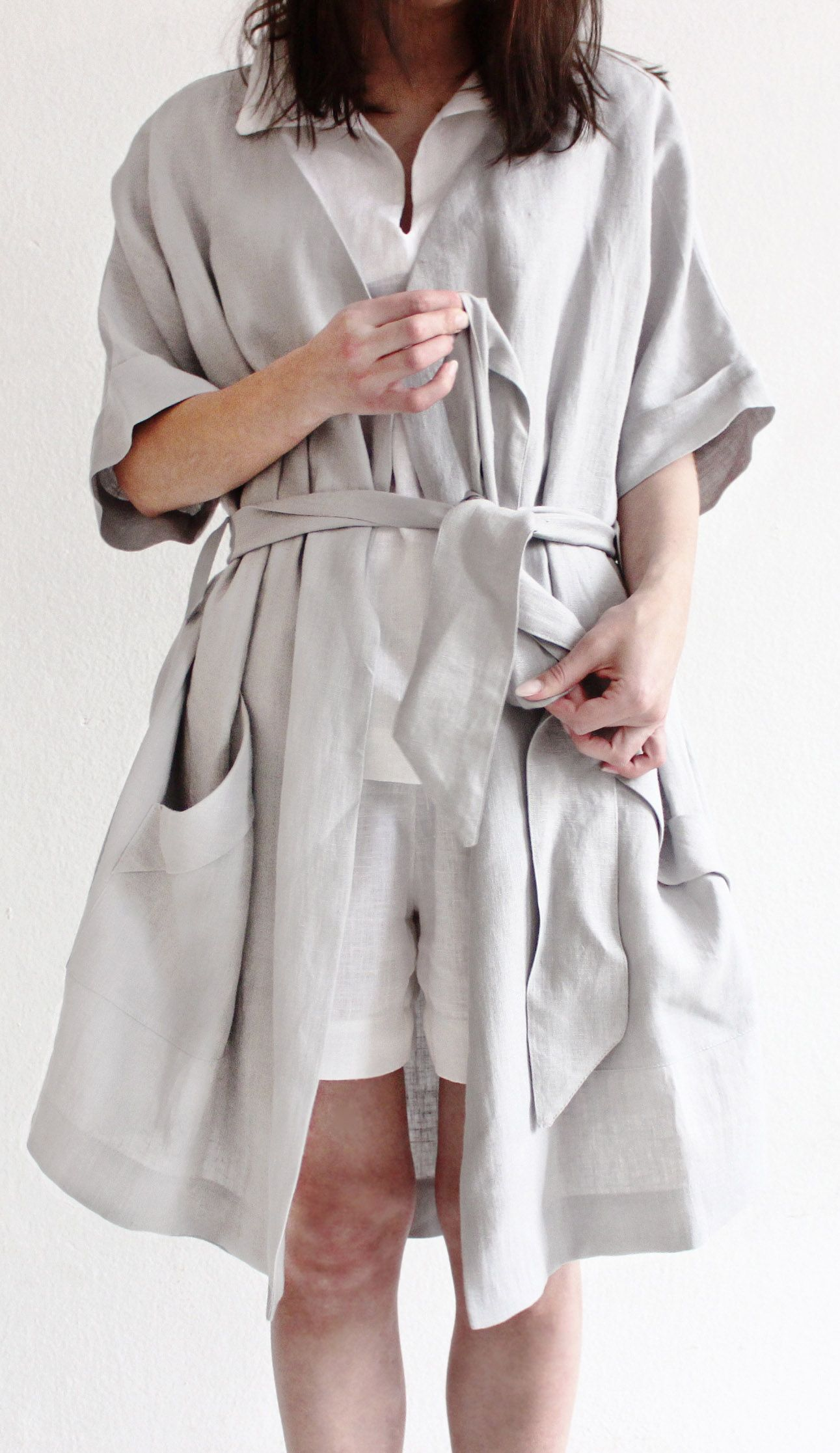 Linen dressing gown by Lovely Home Idea. Stonewashed linen bathrobe. f9a8a242d