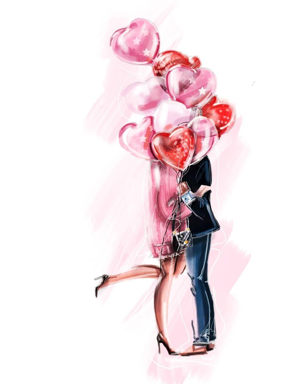 #happyvalentinesday 💞 Всем медведей,конфет и шариков🤗🎈 #fashionillustration #fashion #fashionart #fashionsketch #fashionweek #illustration…