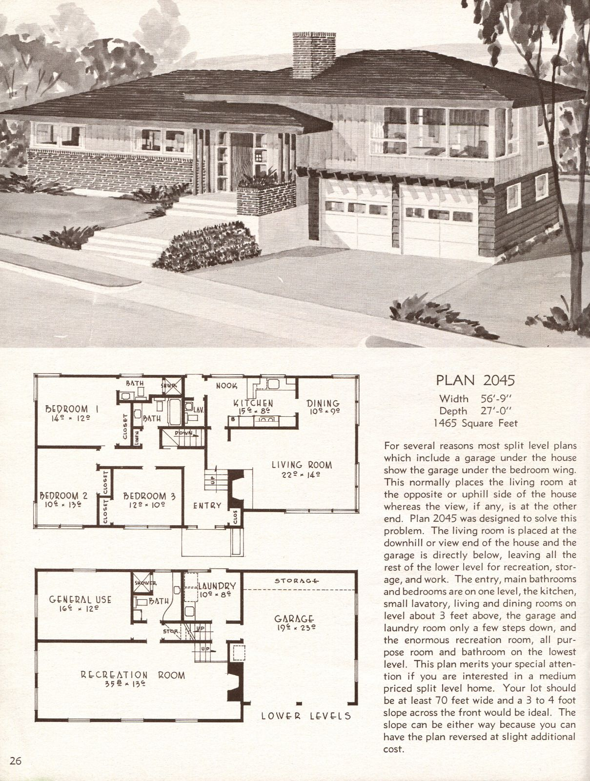 United States 1958 Plan 2045 A Large Split Level Vintage Home Plans 1280x1600 Split Level House Plans Vintage House Plans Floor Plans Ranch