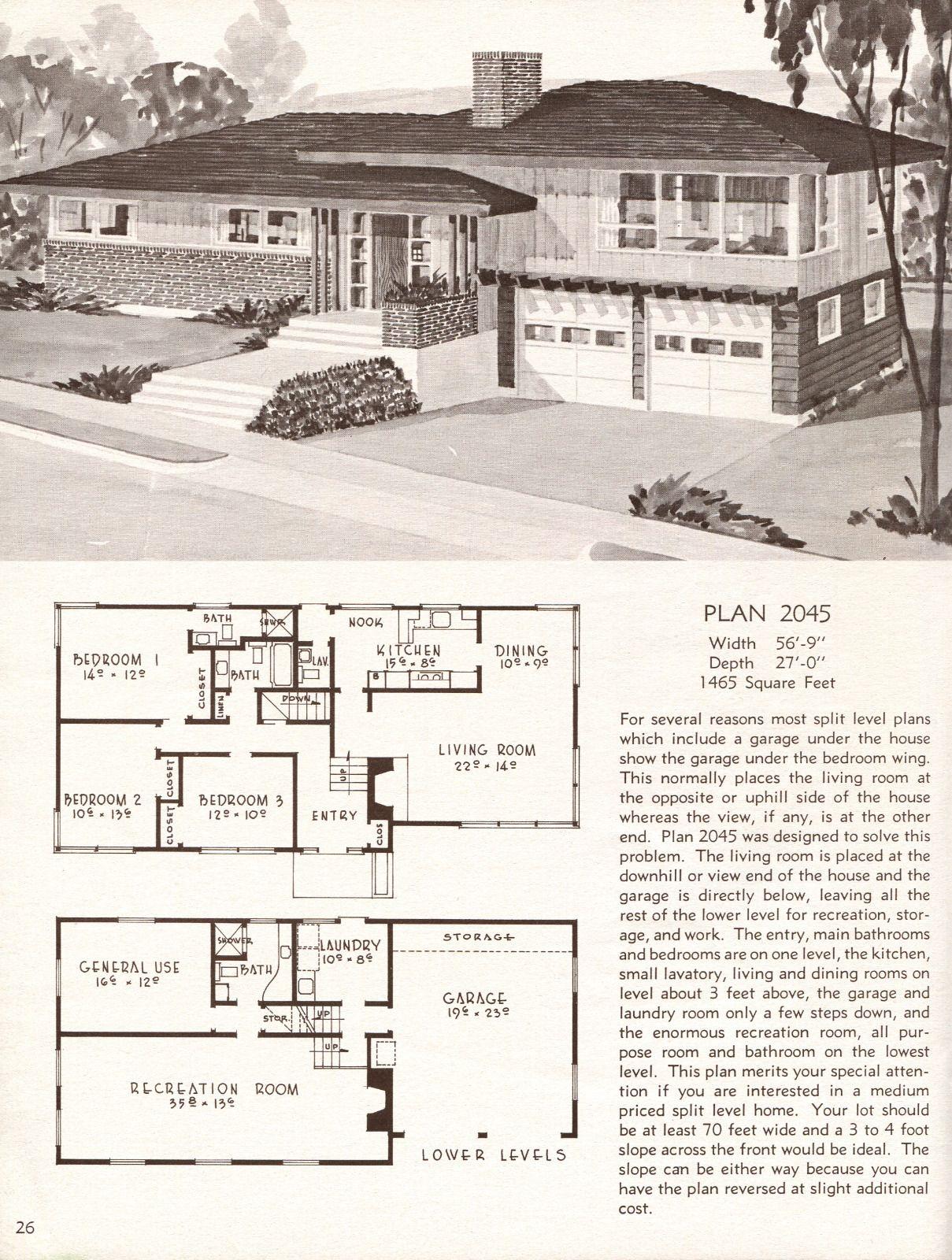 United States 1958 Plan 2045 A Large Split Level Vintage