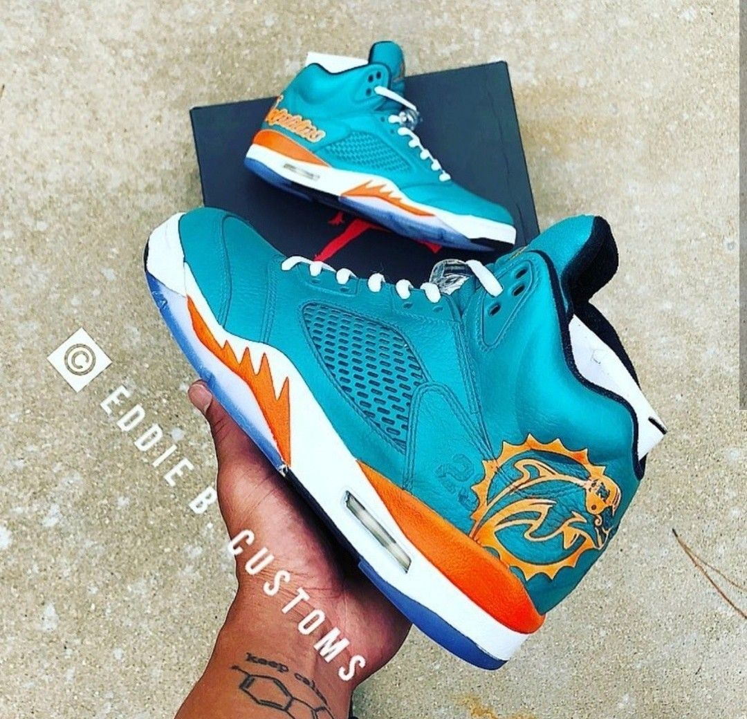 55cf2e9f91c Share this with a miami dolphins fan! Custom painted nike miami ...