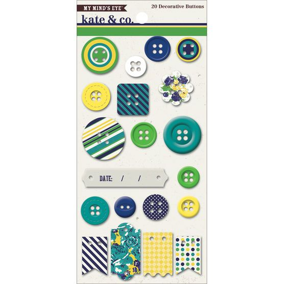 My Mind's Eye Kate & Co. Oxford Lane Chipboard Buttons at Joann.com