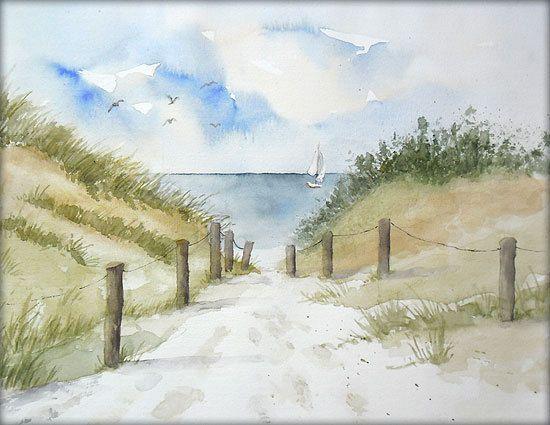 Strandweg zur Ostsee - Aquarell - 24 x 30 cm - Original - Landschaft #aquarell #landschaft #original #ostsee #strandweg #wasserfarbenkunst