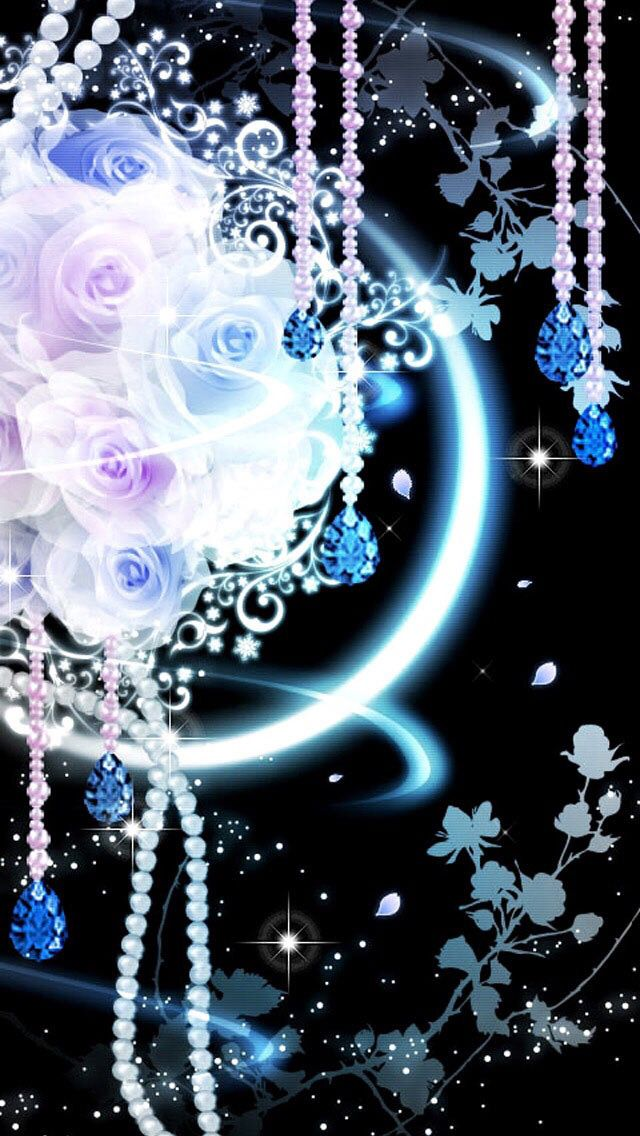 Blue Roses With Jewels Flower Phone Wallpaper Gothic Wallpaper Beautiful Wallpapers Blue wallpaper galaxy rose