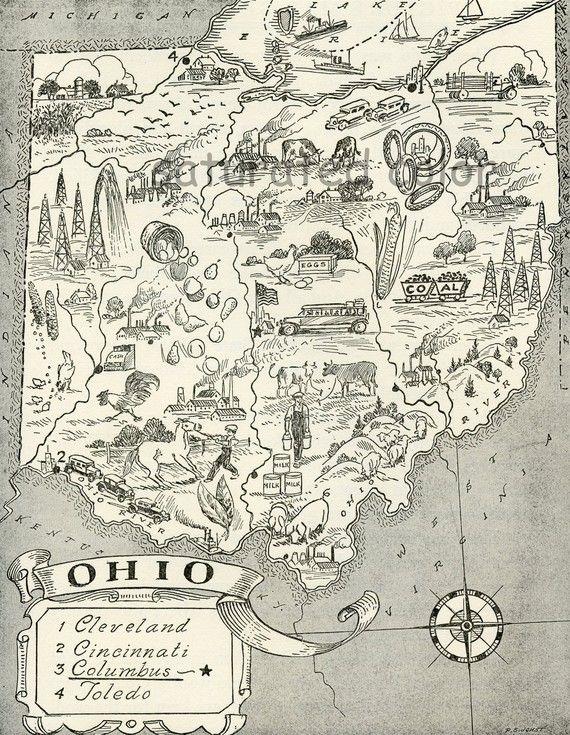 Ohio Map Vintage   LAST ONE   A Delightfully Amusing ORIGINAL