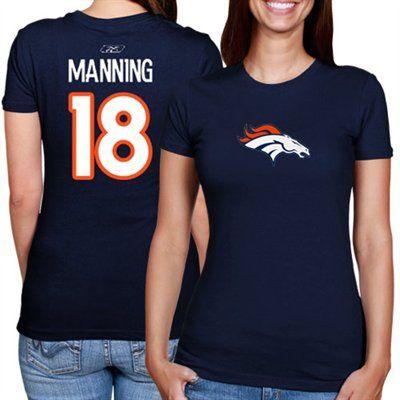 783ff16bb Peyton Manning Denver Broncos Ladies  18 Player T-Shirt - Navy Blue ...