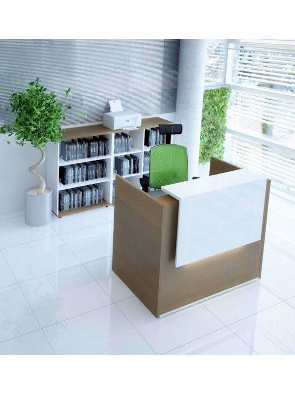 Tera Small Reception Desk W X2f Light Panel Lowland Nut By Mdd