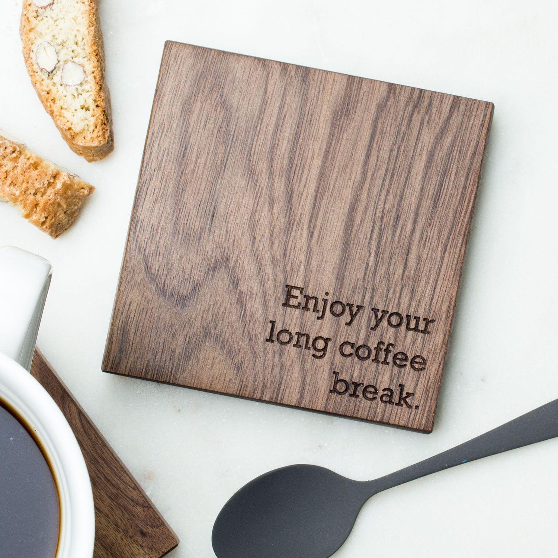 Personalised Wood Coaster Retirement Gift