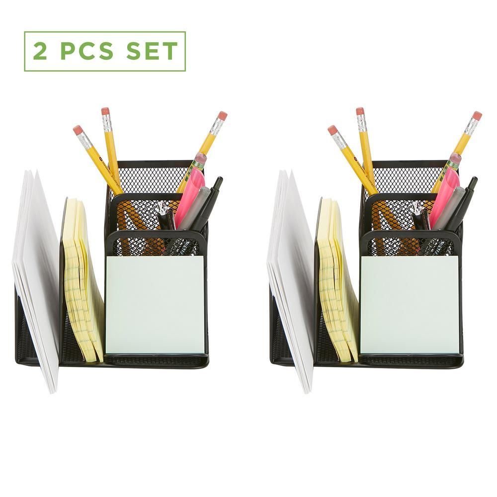 Mind Reader 2 Piece Mesh Pencil Organizer Pen Pencil Paperclip Thumbtack Holder Office Supplies Organizer Sticky Notes Black Hillorg2 Blk Pencil Organizer Office Supply Organization Office Supply Storage