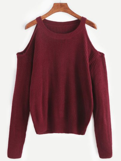 35d2a7fa4a Burgundy Open Shoulder Knit Sweater