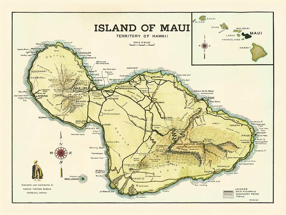 maui maps printable antique hawaiian map reproductions 1955 hawaii visitors bureau maui. Black Bedroom Furniture Sets. Home Design Ideas