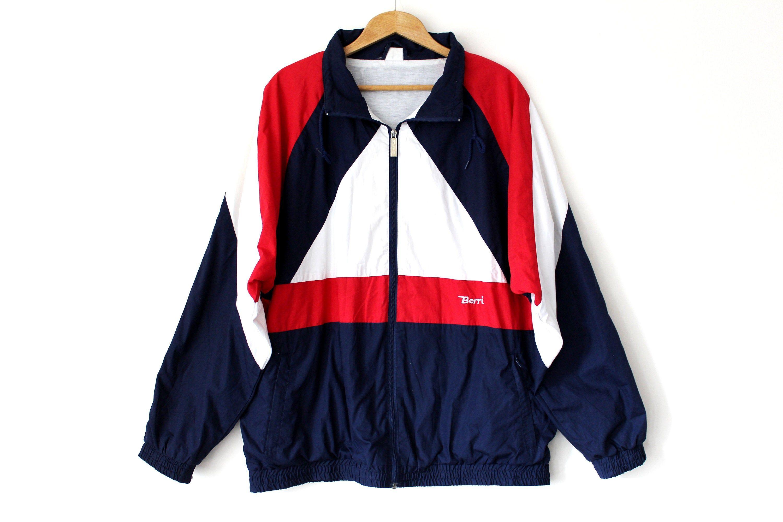 Vintage Color Block Windbreaker 90 S Blue Red White Jacket Full Zip Sweatshirt Parachute Jacket Hip Hop In 2020 Full Zip Sweatshirt White Jacket Hip Hop Streetwear