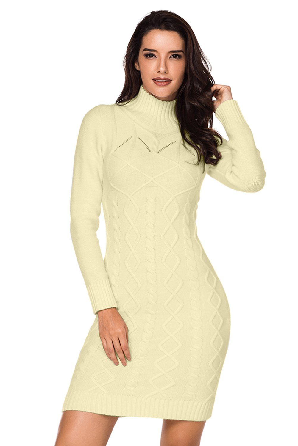 4b8511fc899 Robe Pull Femme Tricot de Cable Abricot Col Roule Pas Cher www.modebuy.com