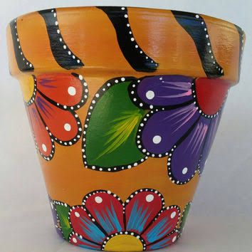 Hand Painted Flower Pots Patterns Google Search Painted Flower