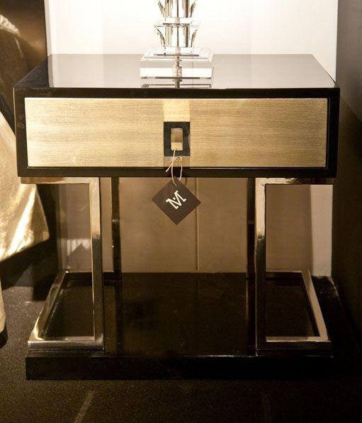 Mesita de noche madera y acero mueble contemporaneo for Muebles de madera contemporaneos