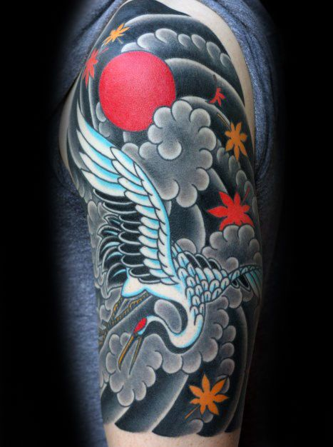 40 Japanese Crane Tattoo Designs For Men - Bird Ink Ideas ... - photo#38