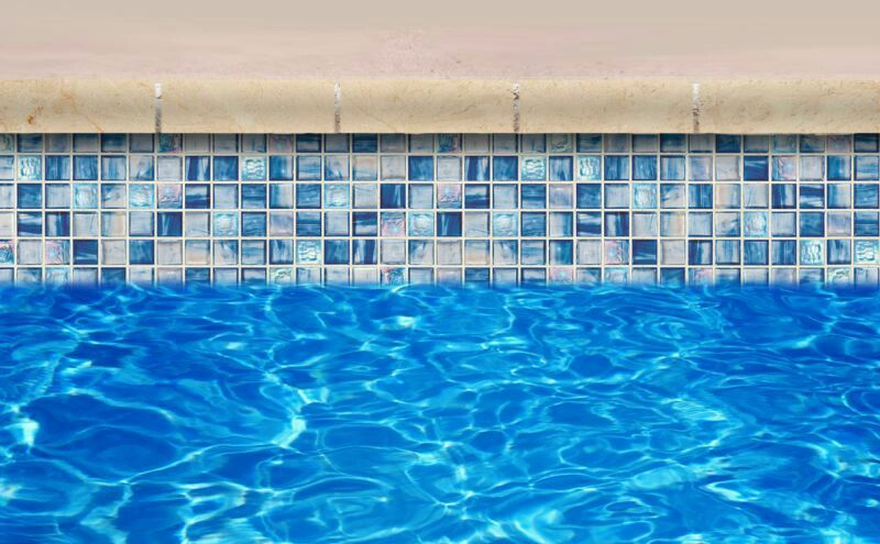 Glass waterline tile, maybe the spa? | Pool tile designs ...