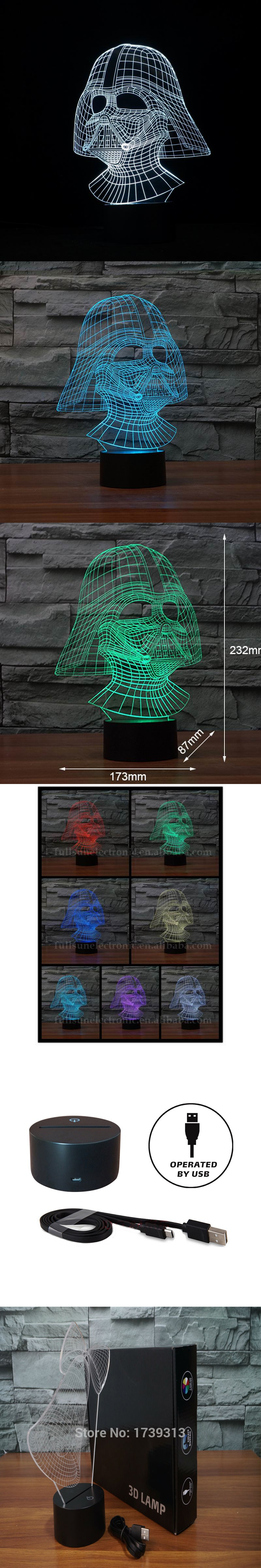 Cool and Handsome Star Wars Darth Vader Shape 3D Illusion L night light as Home Decoration. $22.5