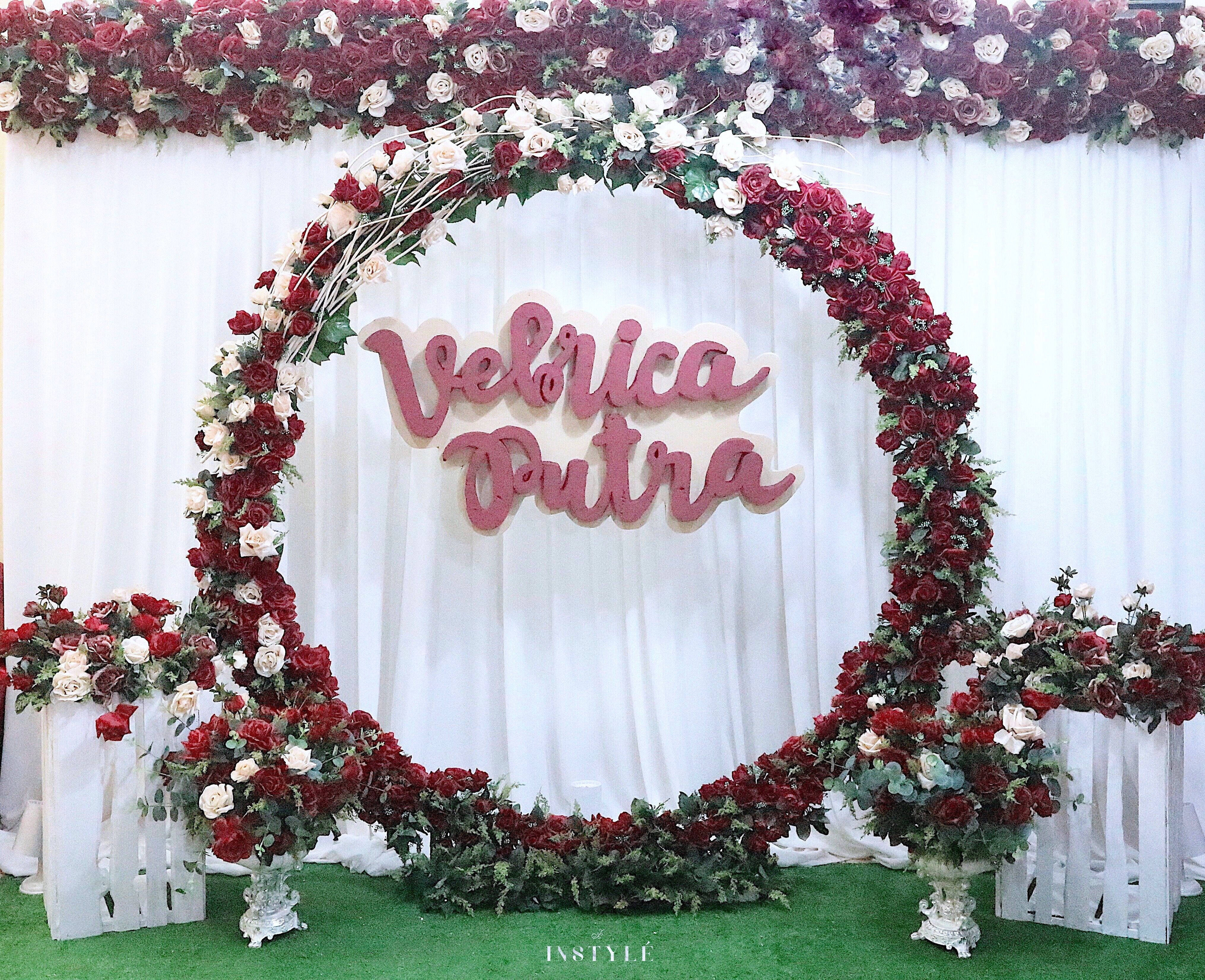 Floral Wreath Backdrop For The Engagement Of Vebrica Putra