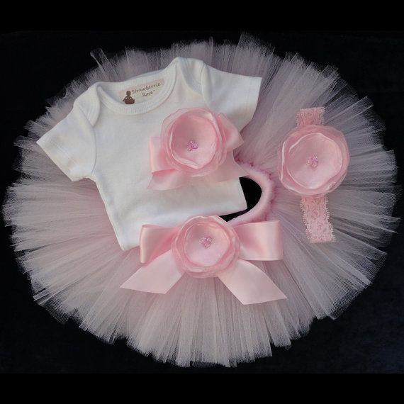 new born baby tutu | Pink Baby Newborn Tutu Dress Set by StrawberrieRose on Etsy, $68.95