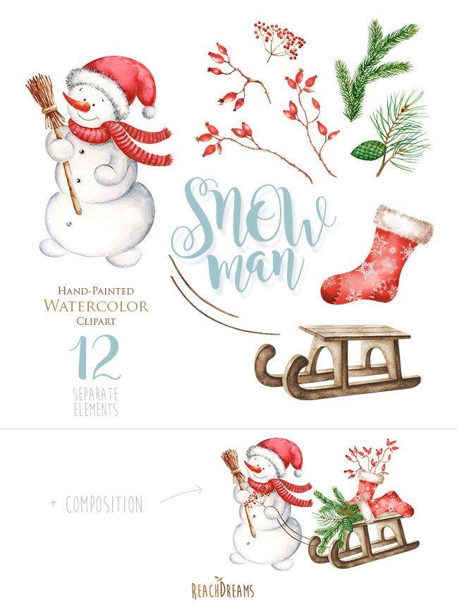 Snowman Watercolor Christmas Clipart, Holiday Winter Set, Christmas ...