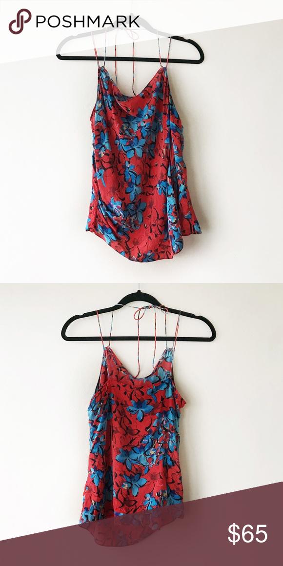be21537bb3fab3 ANTHROPOLOGIE Leifsdottir Silk Blouse Silk tank top blouse in Hibiscus  Flower by Leifsdottir