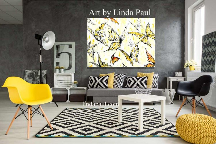 Butterfly Wall Art on Canvas - canvas art in black, white, yellow ...