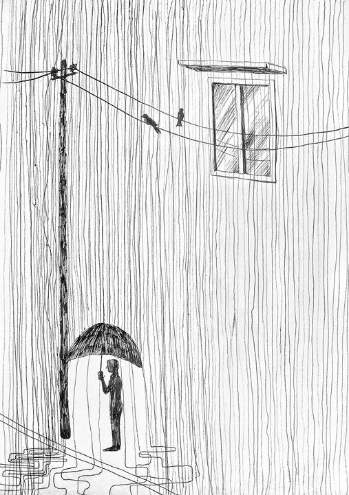 #man in #rain with #umbrella #pen #drawing | Umbrella ...