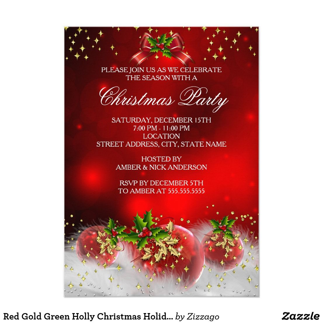 Red Gold Green Holly Christmas Holiday Party Card Christmas ...